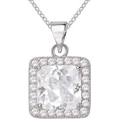Sparkle Allure™ Pure Silver-Plated Square Cubic Zirconia Pendant Necklace