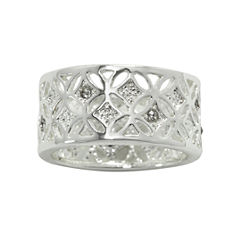 city x city® Clear Crystal Filigree Silver-Tone Ring