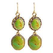 Art Smith by BARSE Green Turquoise Double-Drop Earrings