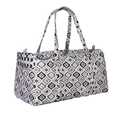 Waverly Black White Ikat Quilted Duffle Tote Bag
