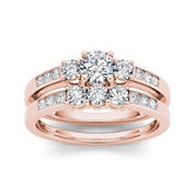 1 CT. T.W. Diamond 14K Rose Gold Bridal Ring Set