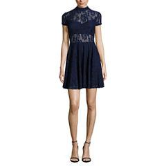 City Triangle Short Sleeve Skater Dress-Juniors