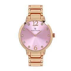 Worthington® Womens Rose-Tone & Pink Bracelet Watch