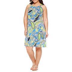 Msk Sleeveless Shift Dress-Plus