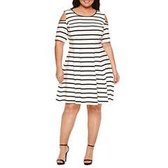 Danny & Nicole Elbow Sleeve Cold Shoulder Stripe Fit & Flare Dress-Plus