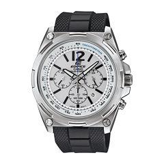 Casio® Edifice Mens White Dial Black Resin Strap Solar Watch EFR545SB-7BV
