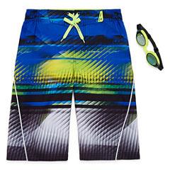 Zeroxposur Boys Digit Stripes Swim Trunks-Big Kid