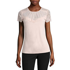 Worthington Short Sleeve Lace Neck Top