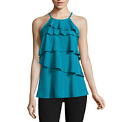 Worthington Sleeveless Tierd Ruffle Tank Top