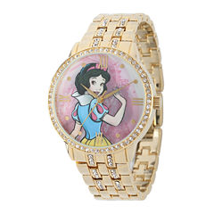 Disney Snow White Womens Crystal-Accent Gold-Tone Bracelet Watch