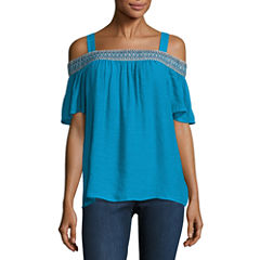 Alyx Short Sleeve Square Neck Gauze Blouse
