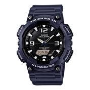 Casio® Mens Black Dial Blue Resin Strapl Solar Sport Watch AQ-S810W-2A2