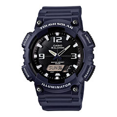 Casio® Mens Black Dial Blue Resin Strapl Solar Sport Watch AQ-S810W-2A2