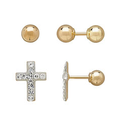 Infinite Gold™ Kids 14K Yellow Gold Crystal-Accent Cross and Ball Stud 2-pr. Earring Set