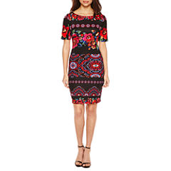 Christian Van Sant Short Sleeve Embellished Sheath Dress