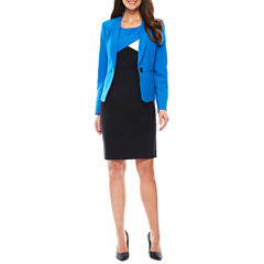 Black Label by Evan-Picone Long Sleeve 1-Button Jacket ot Sleeveless Colorblock Sheath