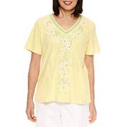 Alfred Dunner Bahama Bays Short Sleeve V Neck T-Shirt
