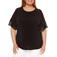 Worthington Short Sleeve Crew Neck T-Shirt-Plus