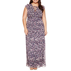 Ashley Nell Tipton for Boutique + Sleeveless Laceup Maxi Dress-Plus