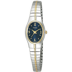 Pulsar® Womens Blue Dial Two-Tone Dress Watch PC3090