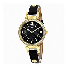Christian Van Sant Petite Womens Black Leather Strap Watch