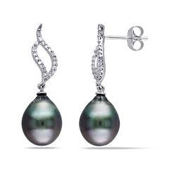 1/10 CT. T.W. Diamond and Black Tahitian Pearl 10K White Gold Earrings