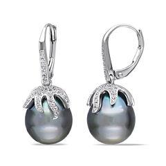Genuine Black Tahitian Pearl & White Topaz Sterling Silver Earrings