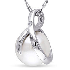 Cultured Freshwater Pearl & Diamond Accent 10K White Gold Pendant