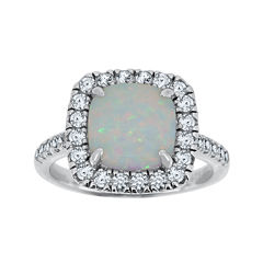 Lab-Created Opal & White Sapphire Sterling Silver Ring
