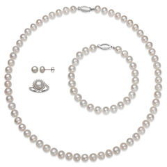 Womens 4-pc. White Pearl Sterling Silver Jewelry Set