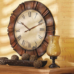 Large Antiqued Copper Wall Clock