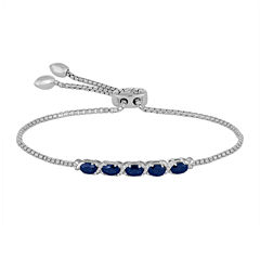 Rhythm and Muse Lab-Created Blue & White Sapphire Sterling Silver Bolo Bracelet