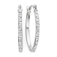Diamond Fascination™ 14K Gold Diamond Accent Oval Hoop Earrings