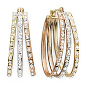 Diamond Fascination™ 14K Tri-Color Diamond Accent Triple Oval Hoop Earrings