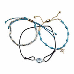 Bridge Jewelry Womens 3-pc. Blue Crystal Silver Over Brass Bracelet Set