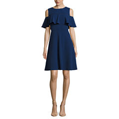 Alyx Short Sleeve Fit & Flare Dress-Petites