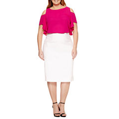 Worthington Cold Shoulder Ruffle Blouse, Exposed Side Zip Pencil Skirt - Plus