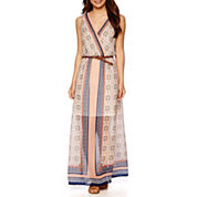 a.n.a® Sleeveless Print Belted Maxi Dress