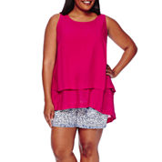 Stylus™ Ruffle Back Tank Top or Twill Shorts - Plus