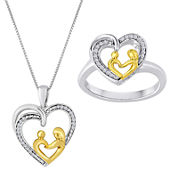 1/10 CT. T.W. Diamond Mom Heart Two-Tone Ring and Pendant Necklace Set