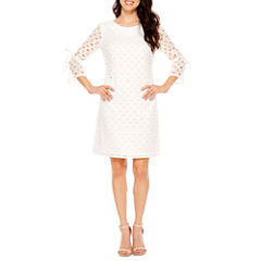R & K Originals 3/4 Sleeve Lace Shift Dress