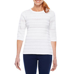 Sag Harbor Lace And Stripes 3/4 Sleeve Pullover Sweater