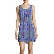 My Michelle® Sleeveless Chiffon Print A-Line Dress- Juniors