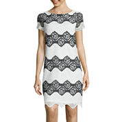 London Style Collection Short-Sleeve Floral Lace Stripe Shift Dress