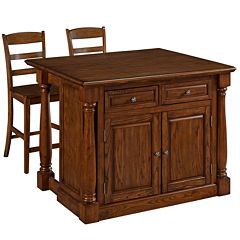 Montmarte Oak Kitchen Island with Two Stools