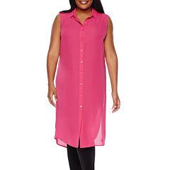 Boutique+ Long-Line Shirt Dress - Plus