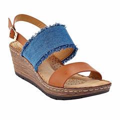 Henry Ferrera Comfort-4 Womens Wedge Sandals Wide
