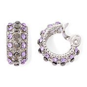 Monet® Purple Stone and Marcasite Clip-On Hoop Earrings