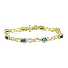 Lab-Created Emerald and Diamond-Accent Infinity Bracelet