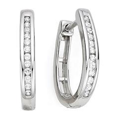 1/4 CT. T.W. Diamond Silver Hoop Earrings